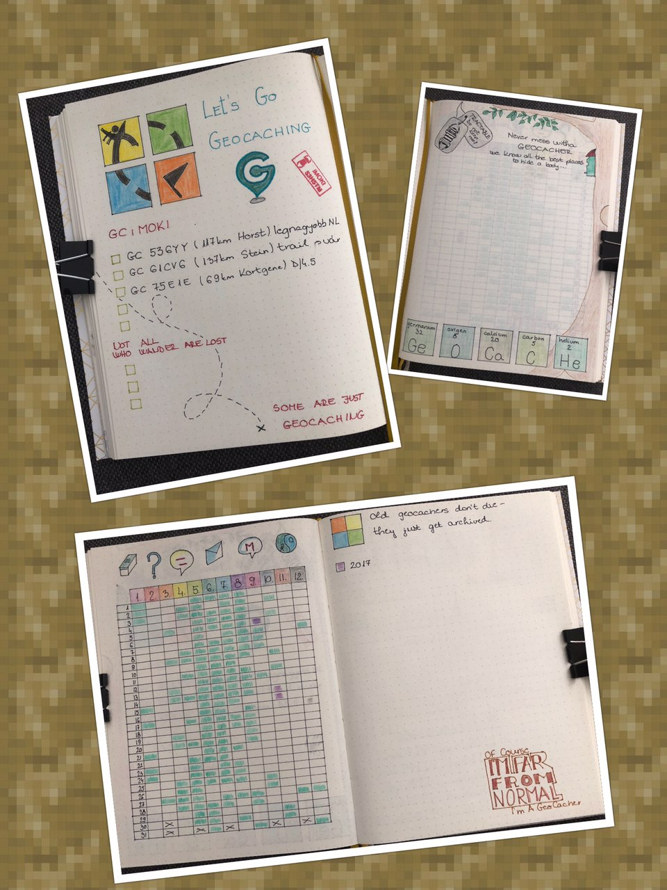 Bullet journal - geocaching layouts
