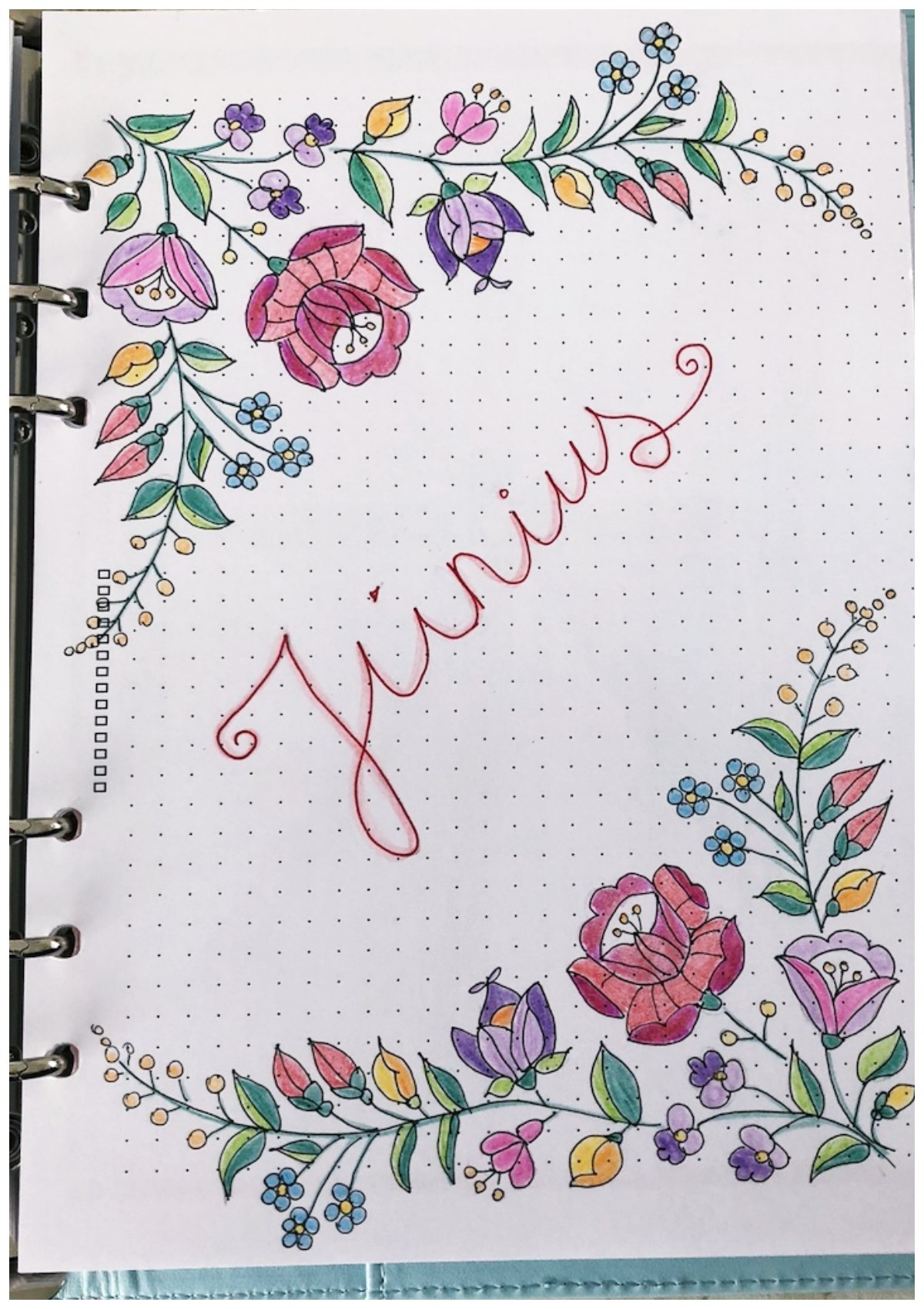 Bullet journal monthly cover June - itstartswithacoffee.com #bulletjournal #bulletjournaling #monthlyplanner #monthlycover #coverpages #June #bujo