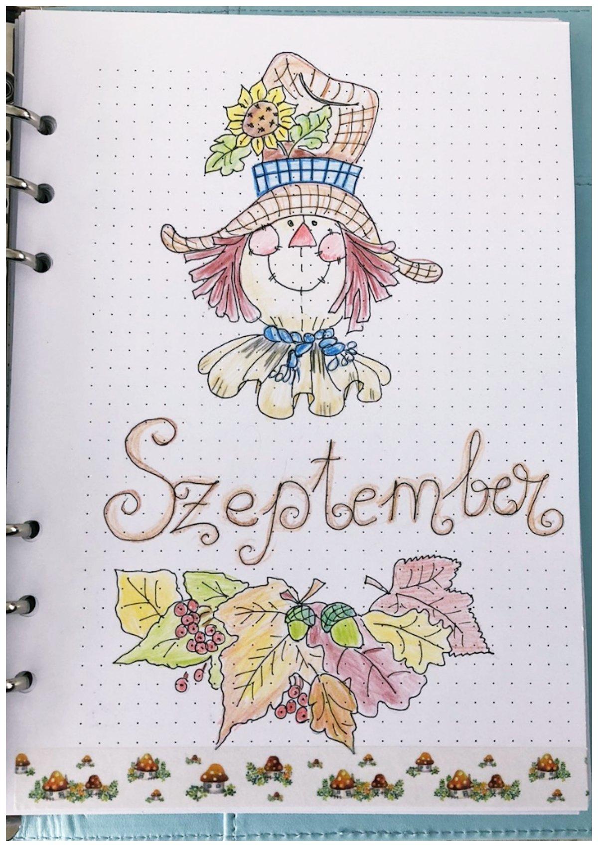 Bullet journal monthly cover September - itstartswithacoffee.com #bulletjournal #bulletjournaling #monthlyplanner #monthlycover #coverpages #September #bujo