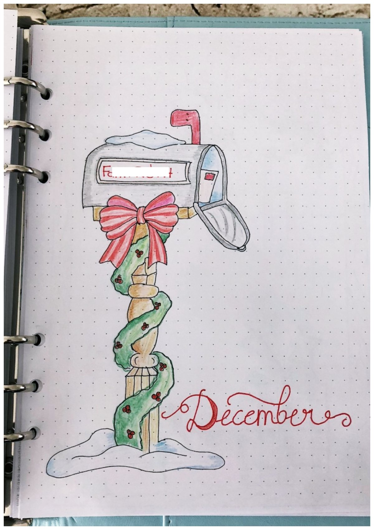 Bullet journal monthly cover December - itstartswithacoffee.com #bulletjournal #bulletjournaling #monthlyplanner #monthlycover #coverpages #December #bujo
