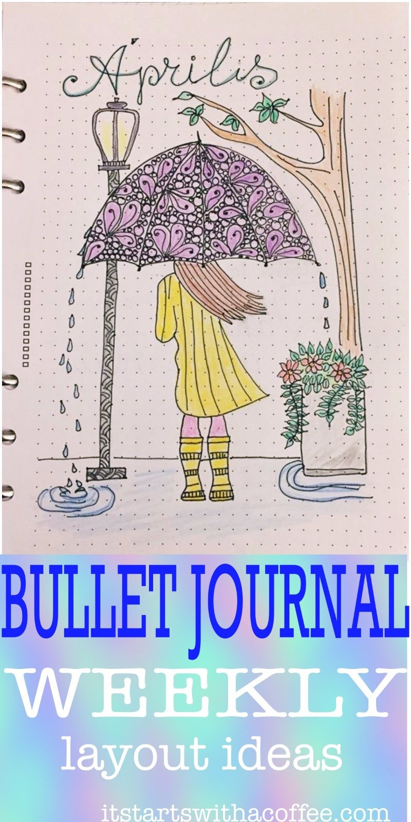 Bullet journal weekly planner - April 2018 - itstartswithacoffee.com #april #coverpage #bulletjournal #bujo #weekly #weeklyplanner #bulletjournaling #bujojunkies #bujolove #showmeyourplanner #bujoinspire #bulletjournallove #bulletjournalcommunity #planning #planneraddict #bulletjournaljunkies #planwithme #itstartswithacoffee.com