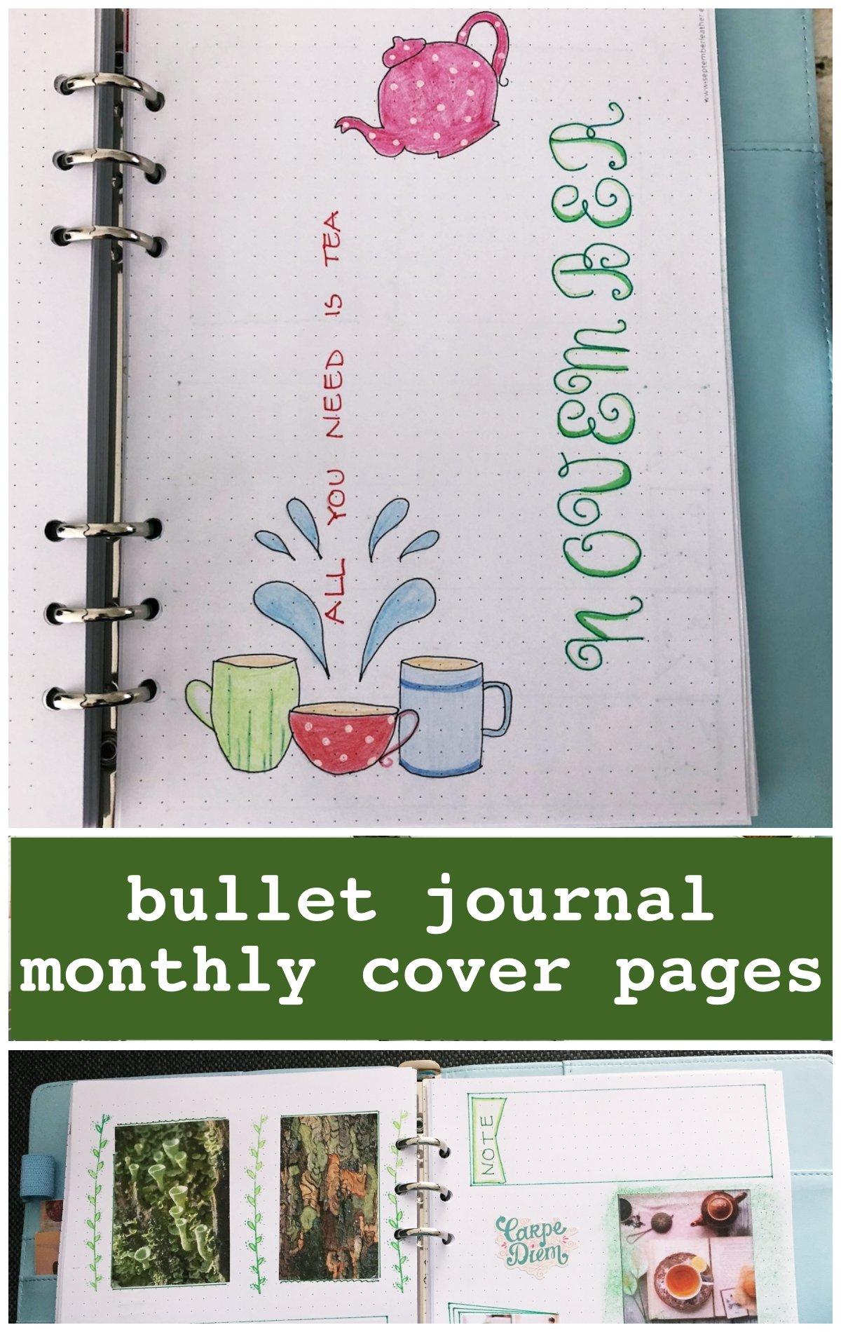 Bullet journal monthly cover November - itstartswithacoffee.com #bulletjournal #bulletjournaling #monthlyplanner #monthlycover #coverpages #November #bujo