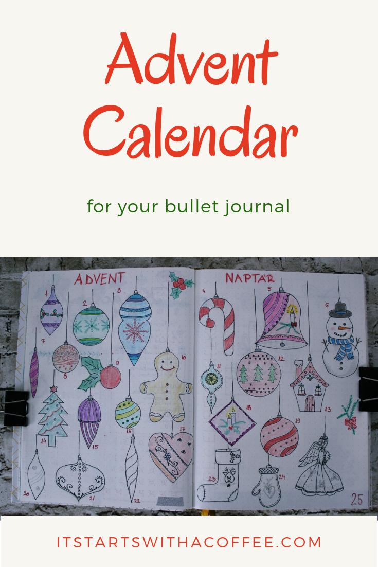 Bullet journal - Advent Calendar - itstartswithacoffee.com #bulletjournal #bujo #advent #adventcalendar #bujolayout