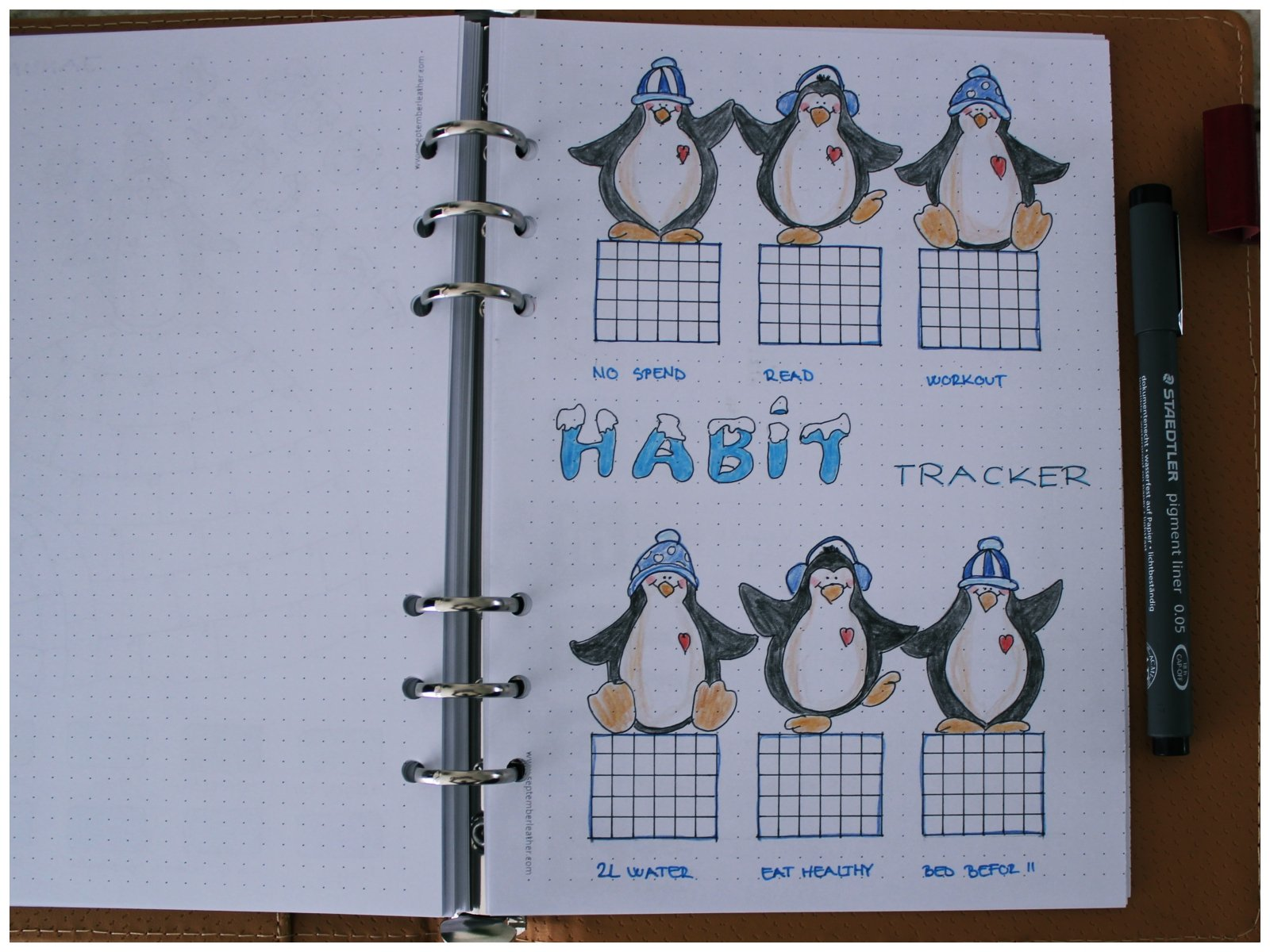 Bullet journal - January habit tracker - itstartswithacoffee.com #bulletjournal #bujo #bujolove #bulletjournaling #habittracker #tracker #habittracking #January #bulletjournallove #bujojunkies