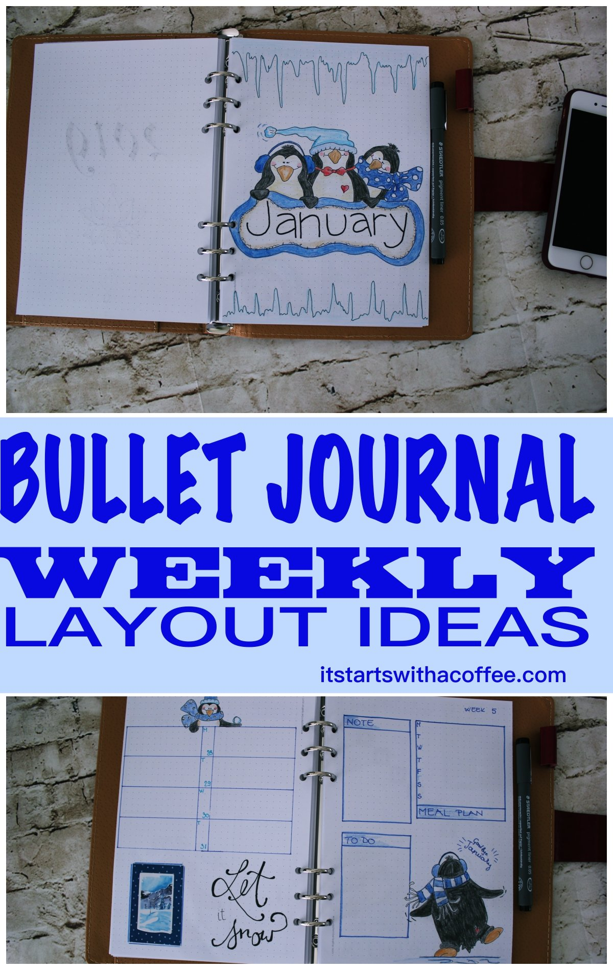 Bullet journal - January weekly planner layouts - itstartswithacoffee.com #bulletjournal #bujo #bujolove #bulletjournaling #weeklyplanner #January #bulletjournallove #bujojunkies