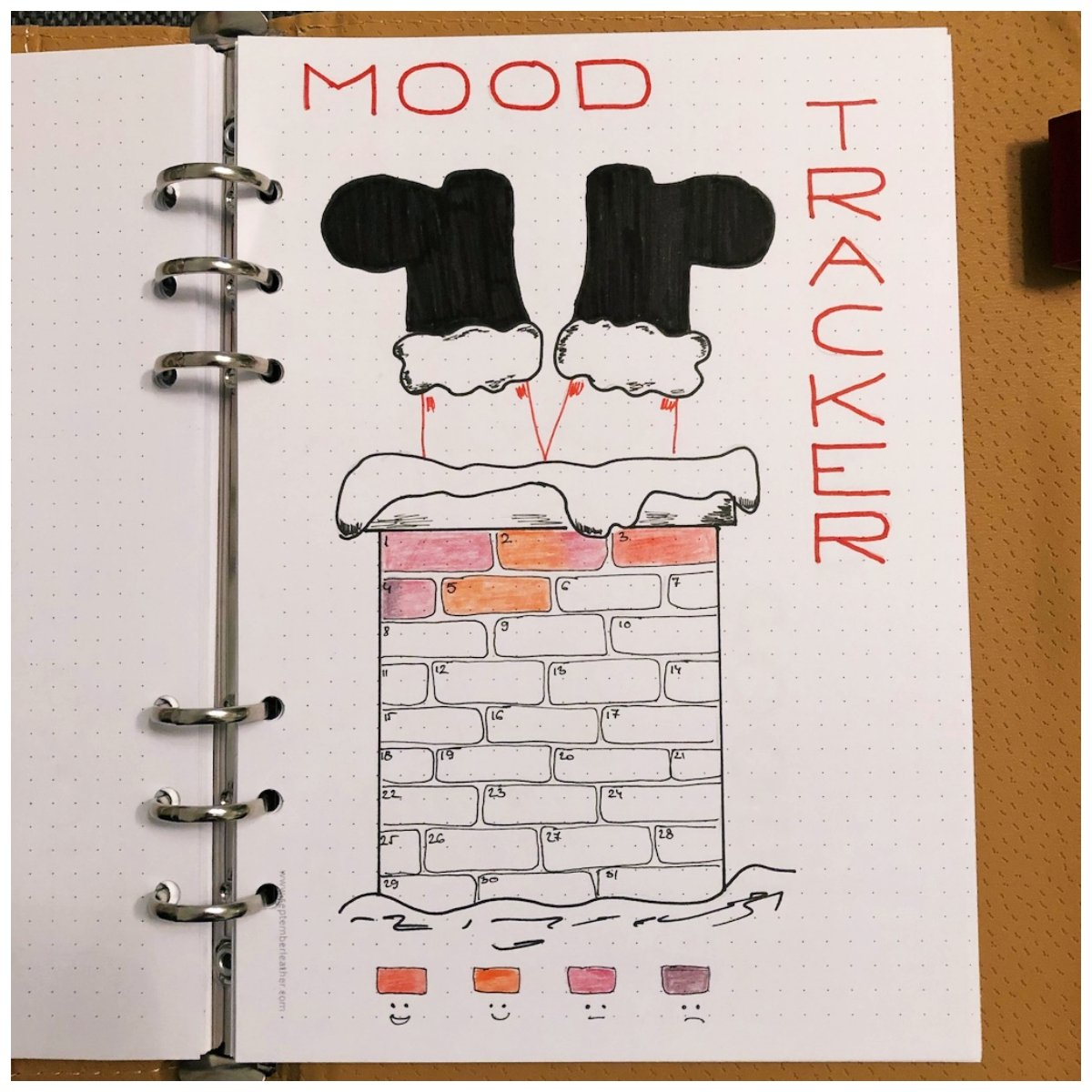 Santa Claus Mood Tracker for your Bullet Journal - itstartswithacoffee.com #bulletjournal #bujo #tracker #moodtracker #santaclaus #chimney
