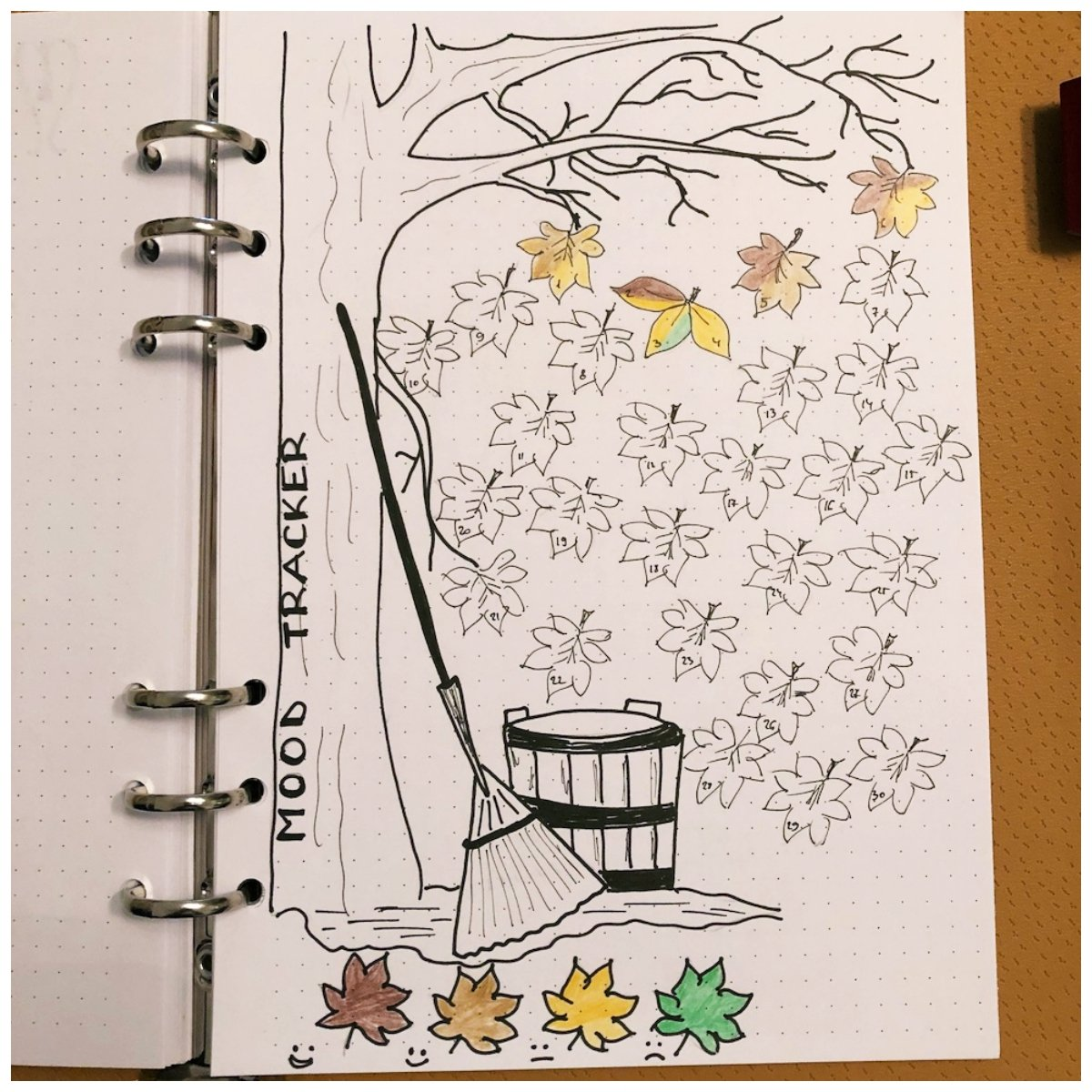 Falling leaves Mood Tracker for your Bullet Journal - itstartswithacoffee.com #bulletjournal #bujo #tracker #moodtracker