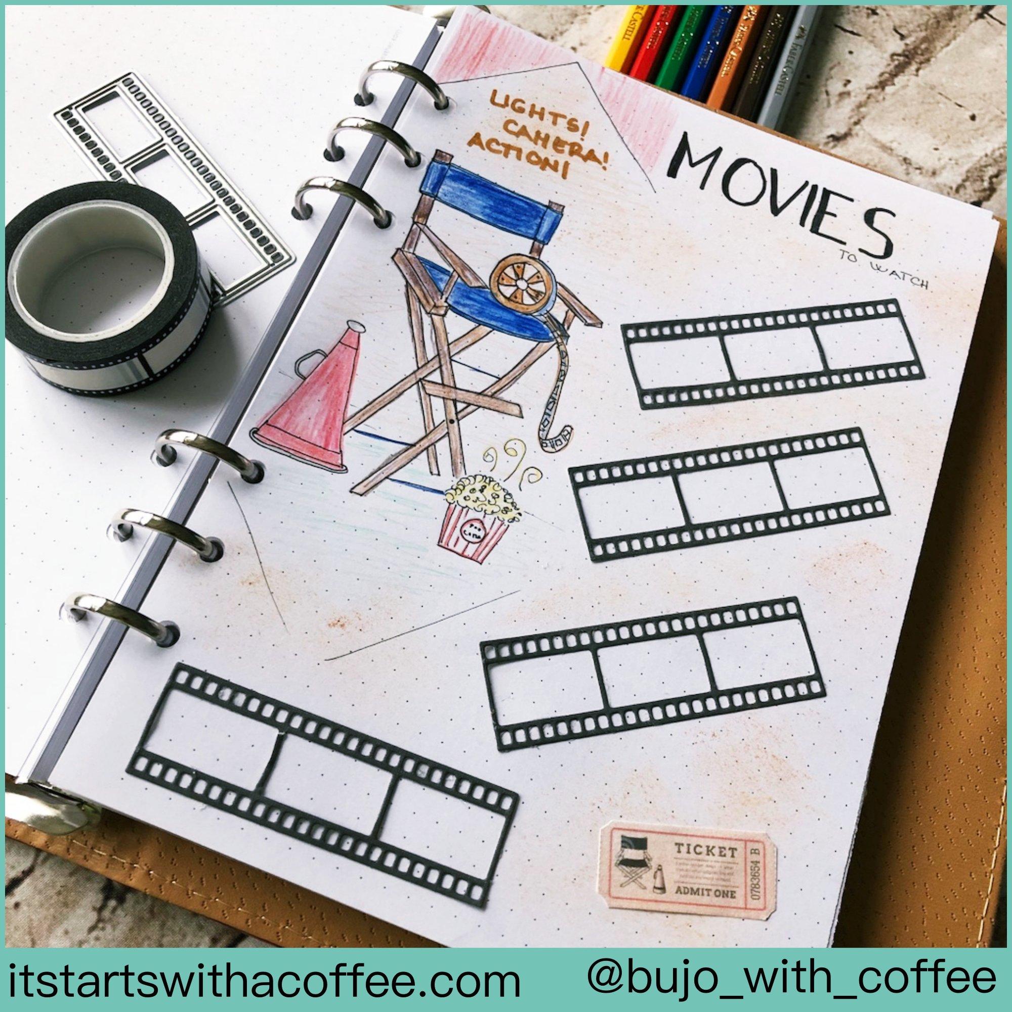 Bullet journal Movies list - itstartswithacoffee.com #bulletjournal #movies #movieslist