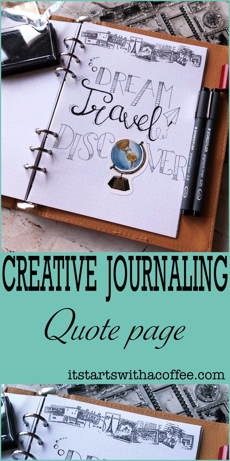 Creative journaling - Quote #2 - itstartswithacoffee.com #creativejournaling #bulletjournaling #planner #quote #quotes #travel