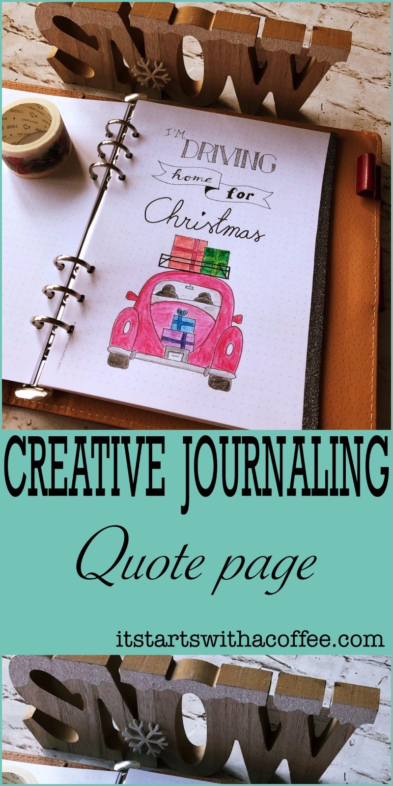 Creative journaling - Quote #1 - itstartswithacoffee.com #creativejournaling #bulletjournaling #planner #quote #quotes #Christmas #xmas