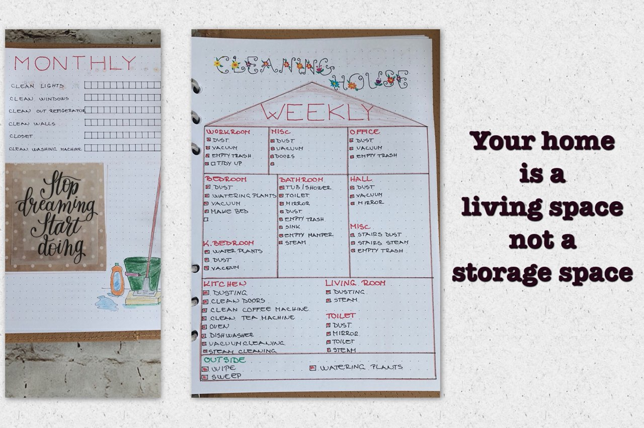 Bullet journal Cleaning - itstartswithacoffee.com #bulletjournal #bulletjournallayout #bujo #cleaning