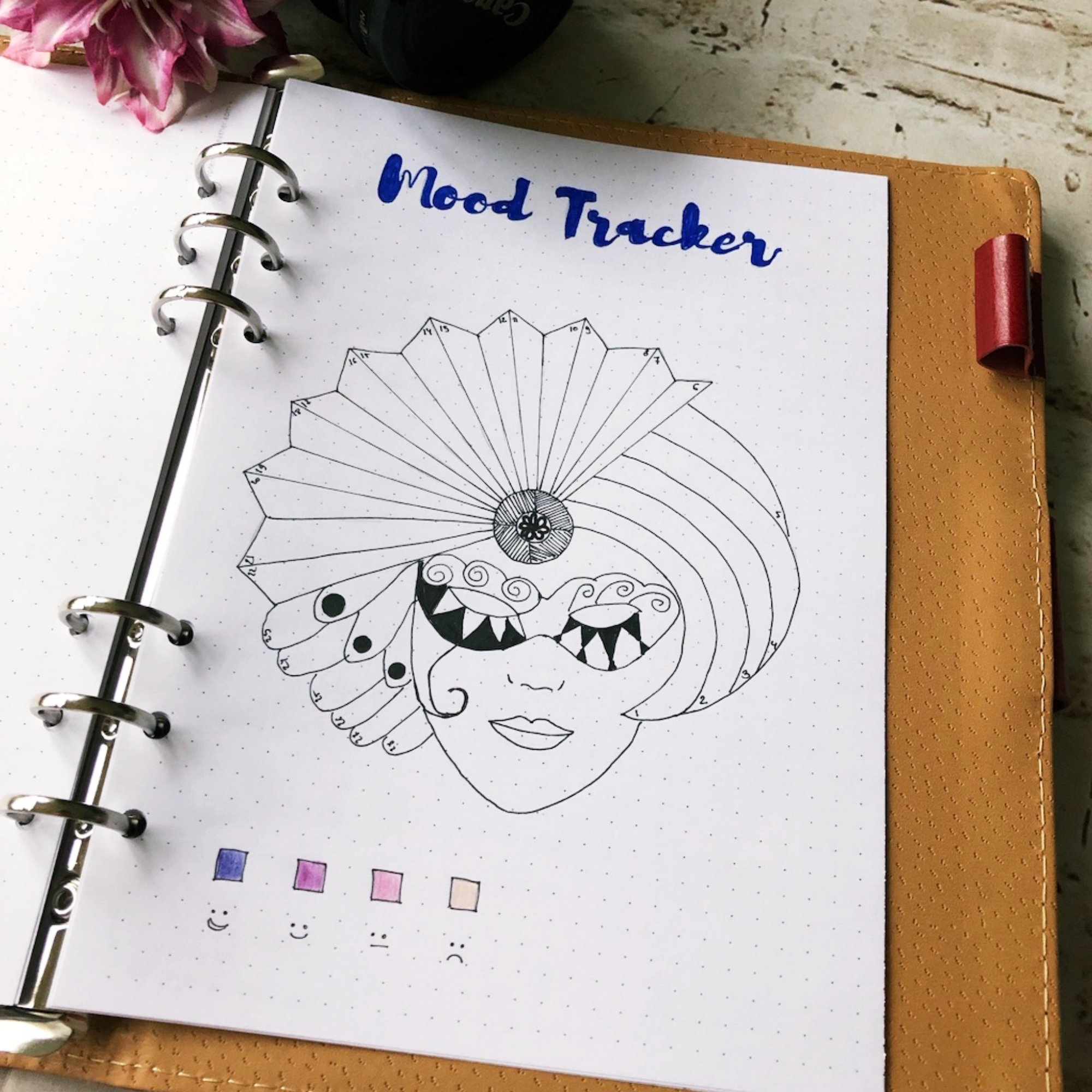 Creative journaling mood tracker February 2019 - itstartswithacoffee.com #creativejournaling #bulletjournaling #February #2019 #moodtracker #tracker