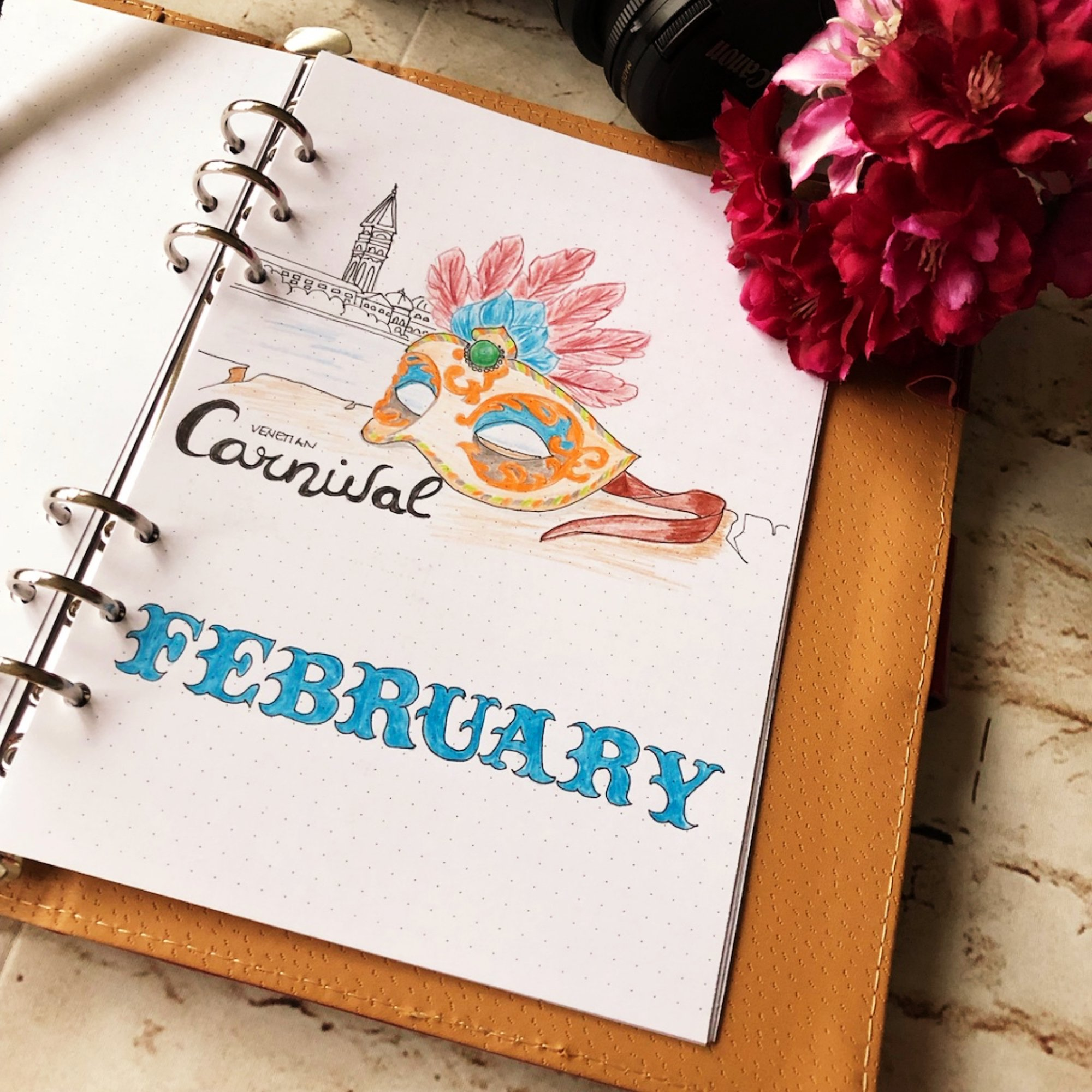 Creative journaling February 2019 - cover page - itstartswithacoffee.com #creativejournaling #bulletjournaling #monthlyplanner #monthlycover #coverpages #February #creativeplanning #creativeplanner #planner