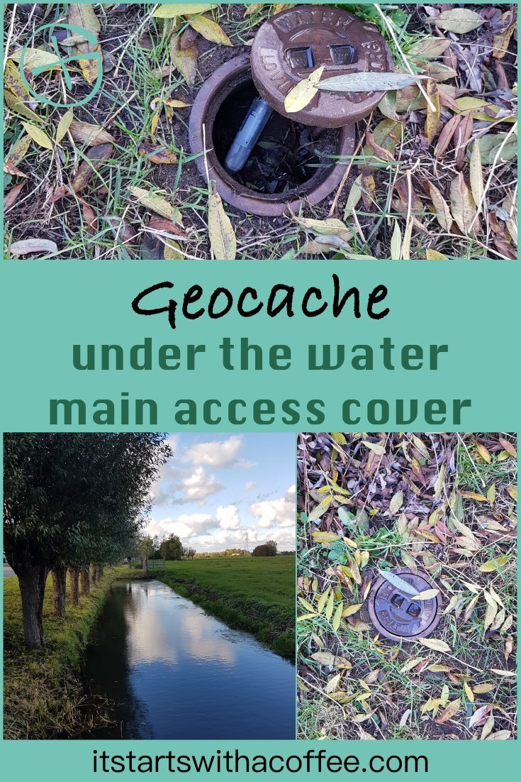 Geocache under the water main access cover - itstartswithacoffee.com #geocache #geocaching #geocachingNL #geocachingNetherlands #geocachingfun