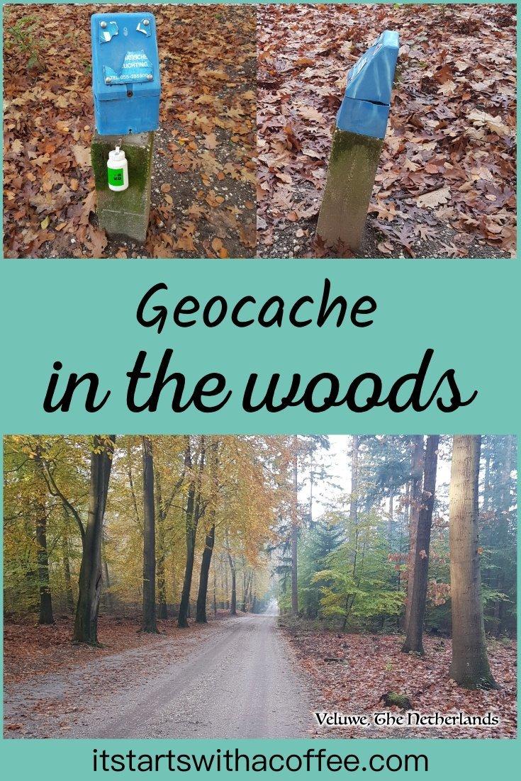 Geocache in the woods - itstartswithacoffee.com #geocache #geocaching #geocachingNL #geocachingNetherlands #geocachingfun