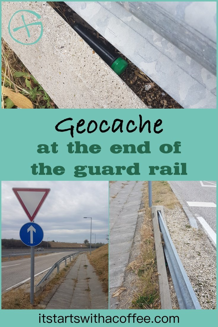 The geocache hiding under the guard rail - itstartswithacoffee.com #geocache #geocaching #geocachingHungary #highwaycache #petling #petpreform