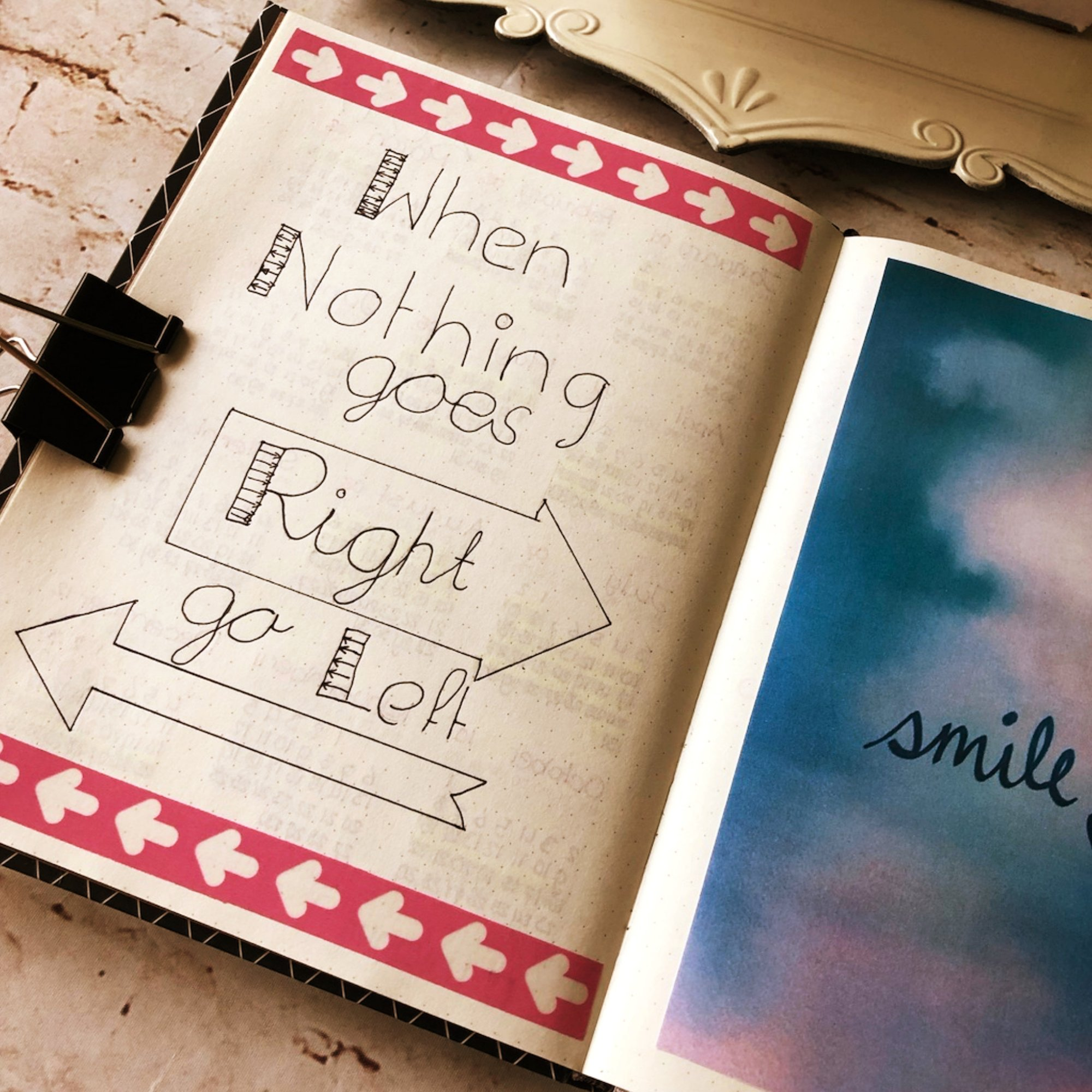 Creative journaling Quotes #2 - When nothing goes right go left - itstartswithacoffee.com #journaling #creativejournaling #quotes