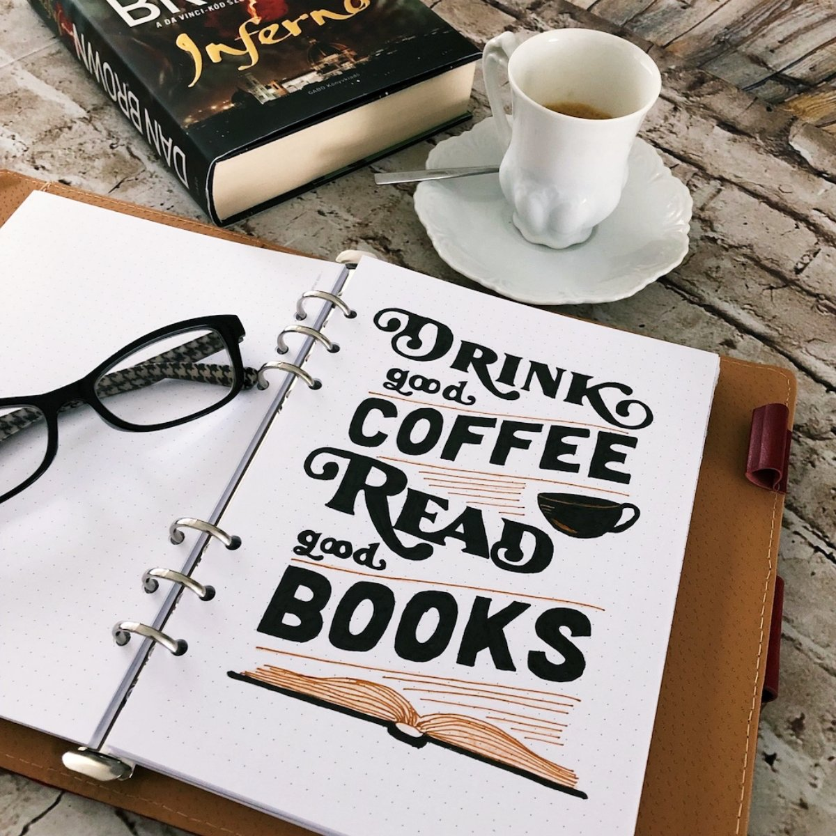 Bullet journal quotes - Drink good coffee read good books - itstartswithacoffee.com #bulletjournal #quotes #bulletjournaling #lettering #coffee #books