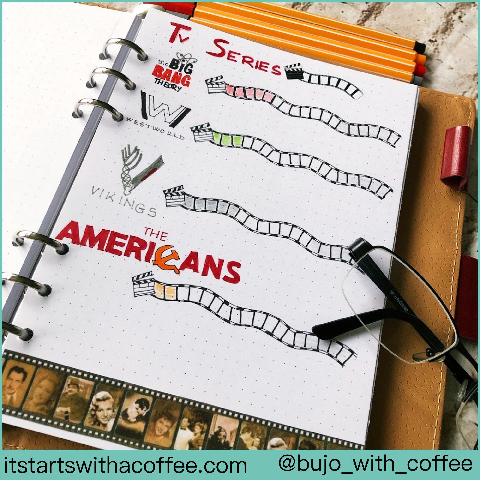 Bullet journal Series tracker - itstartswithacoffee.com #bulletjournal #seriestracker #tracker #bujo