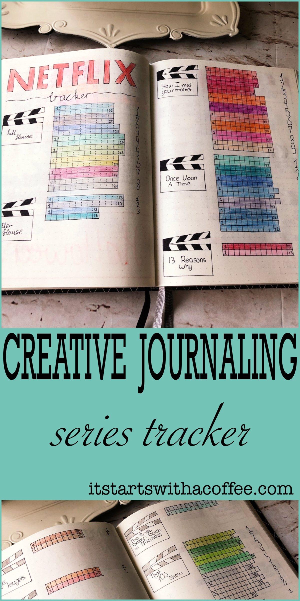 Creative journaling - Series tracker (Netflix) - itstartswithacoffee.com #journaling #creativejournaling #netflix #netflixtracker #seriestracker #tracker