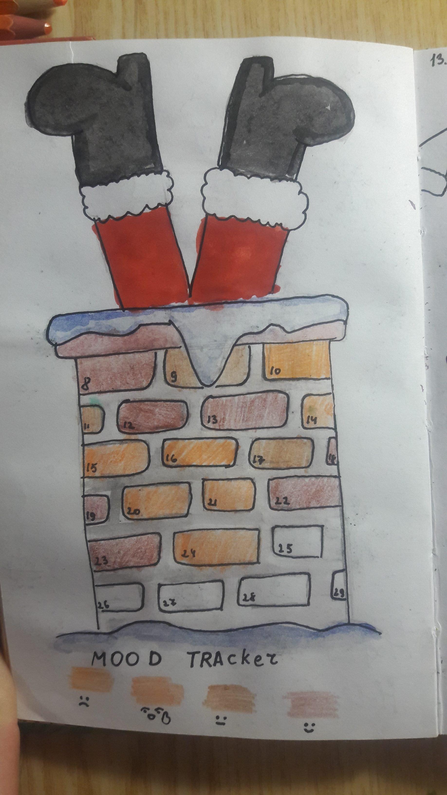 Santa in the chimney by Анжела - istartswithacoffee.com #moodtracker @onuchenkoangela