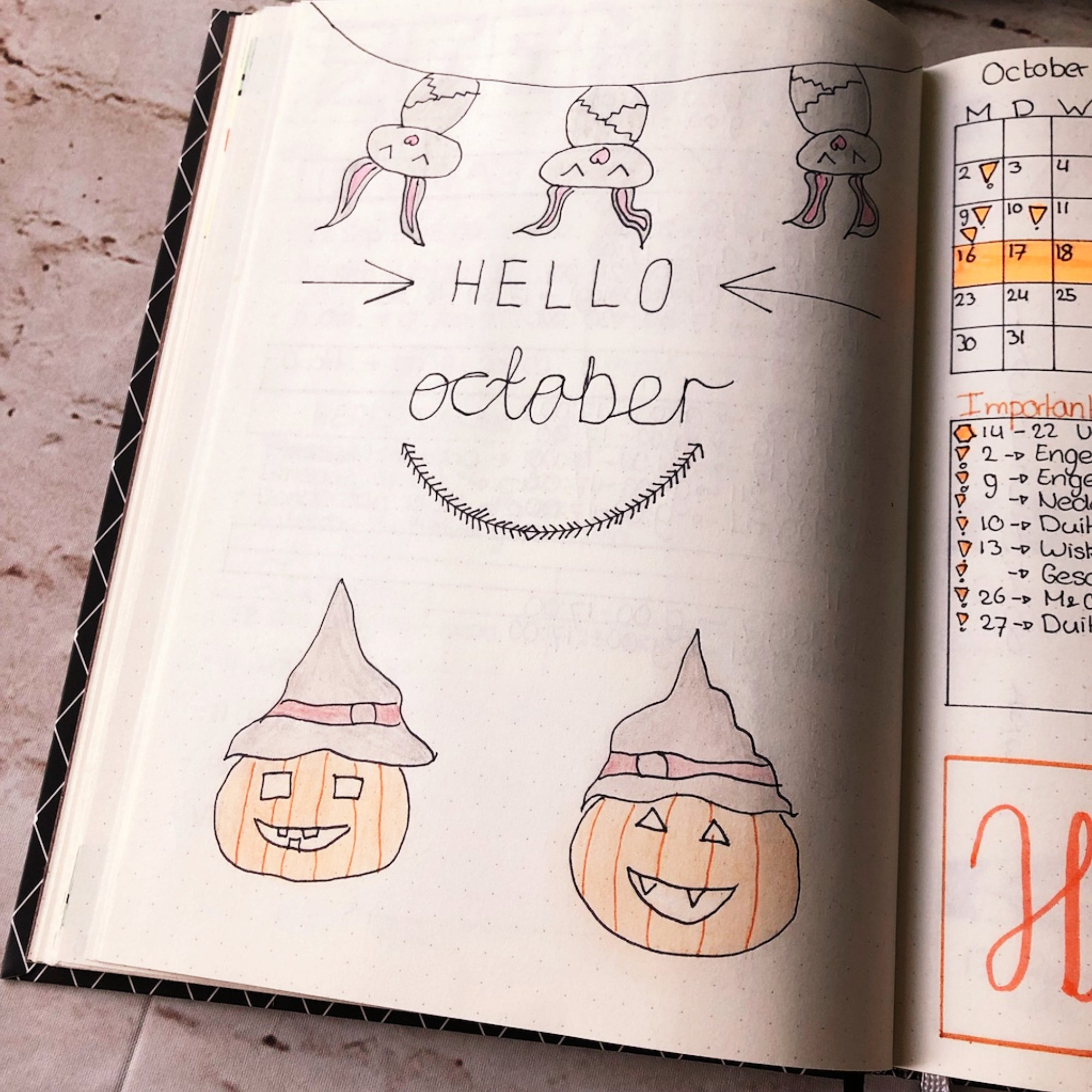 Creative journaling - October cover - itstartswithacoffee.com #monthlycover #journaling #creativejournaling #planning