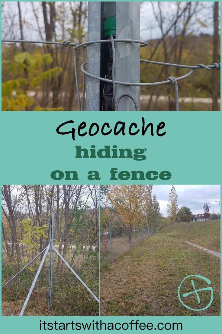 Geocache hidden on a fence at a parking on M6, Hungary - itstartswithacoffee.com #geocache #geocaching #geocachingHungary #petling #petpreform