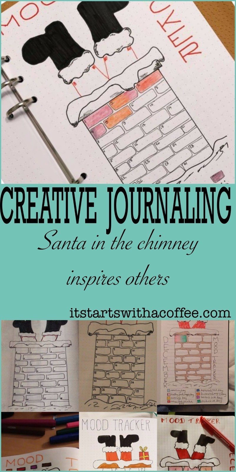 Santa in the chimney inspires others - itstartswithacoffee.com #moodtracker #chimney #santa #santaclaus #creativejournaling