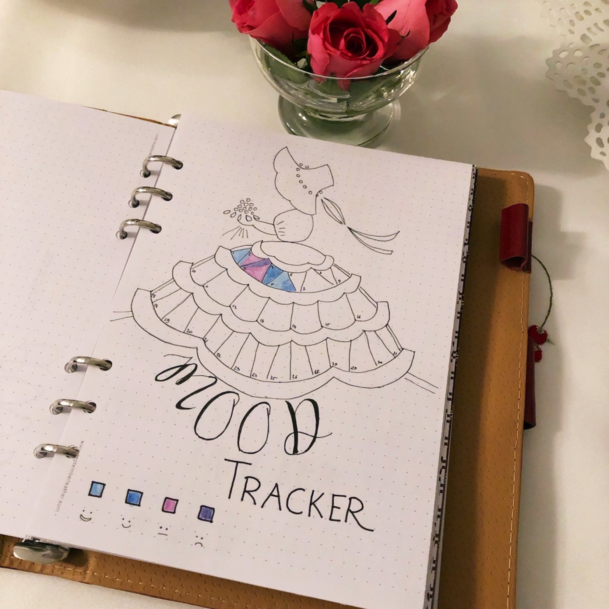 Mood tracker - Lady with flowers - itstartswithacoffee.com #moodtracker #tracker #journaling #planning #creativejournal #creativejournaling