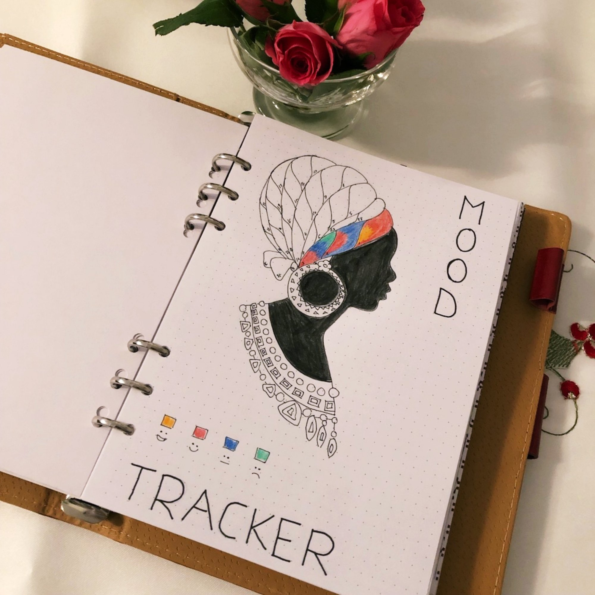 Mood tracker - Lady with a hair net - itstartswithacoffee.com #moodtracker #tracker #journaling #planning #creativejournal #creativejournaling