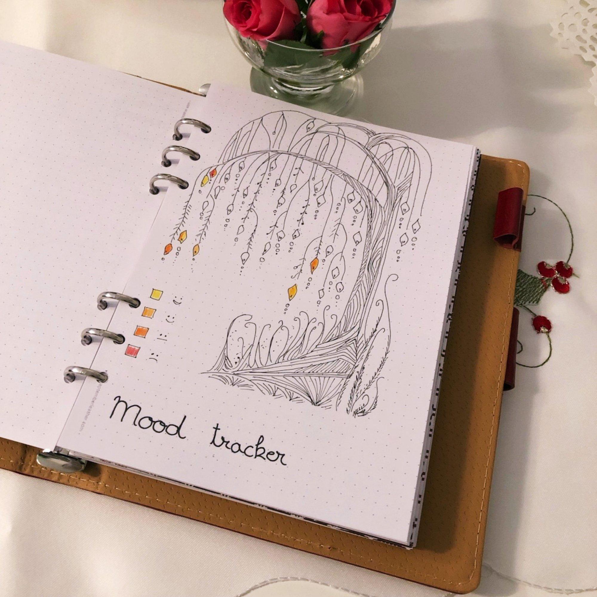Mood tracker - Willow - itstartswithacoffee.com #moodtracker #tracker #journaling #planning #creativejournal #creativejournaling