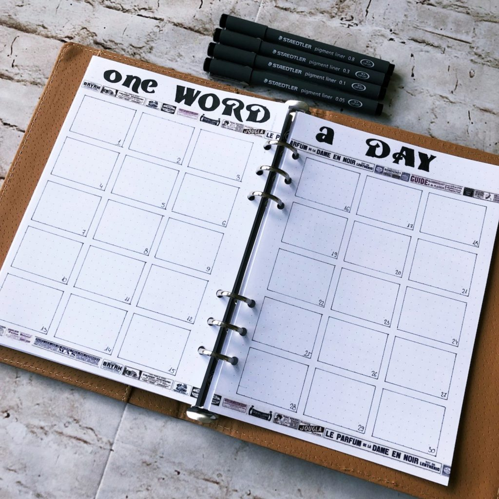 Creative journal April 2019 - one word a day - itstartswithacoffee.com #creativejournaling #planner #monthlyplanner #2019 #2019April #April