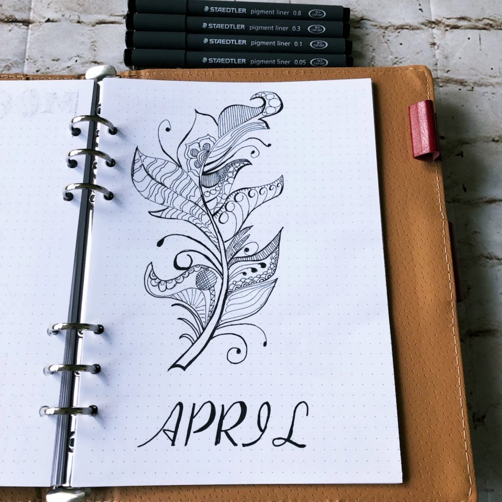 Creative journal April 2019 - cover page - itstartswithacoffee.com #creativejournaling #planner #coverpage #2019 #2019April #April