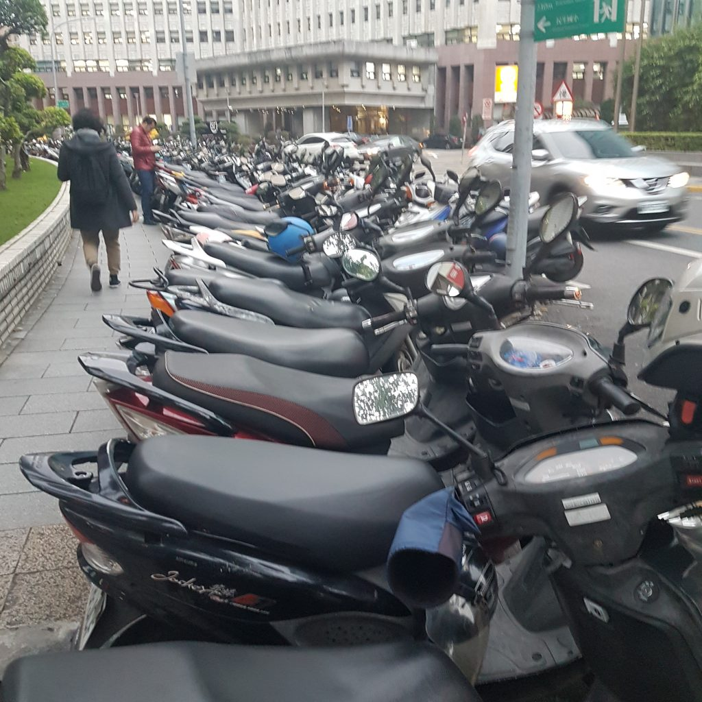 Scooters parking in Taipei, Taiwan - itstartswithacoffee.com