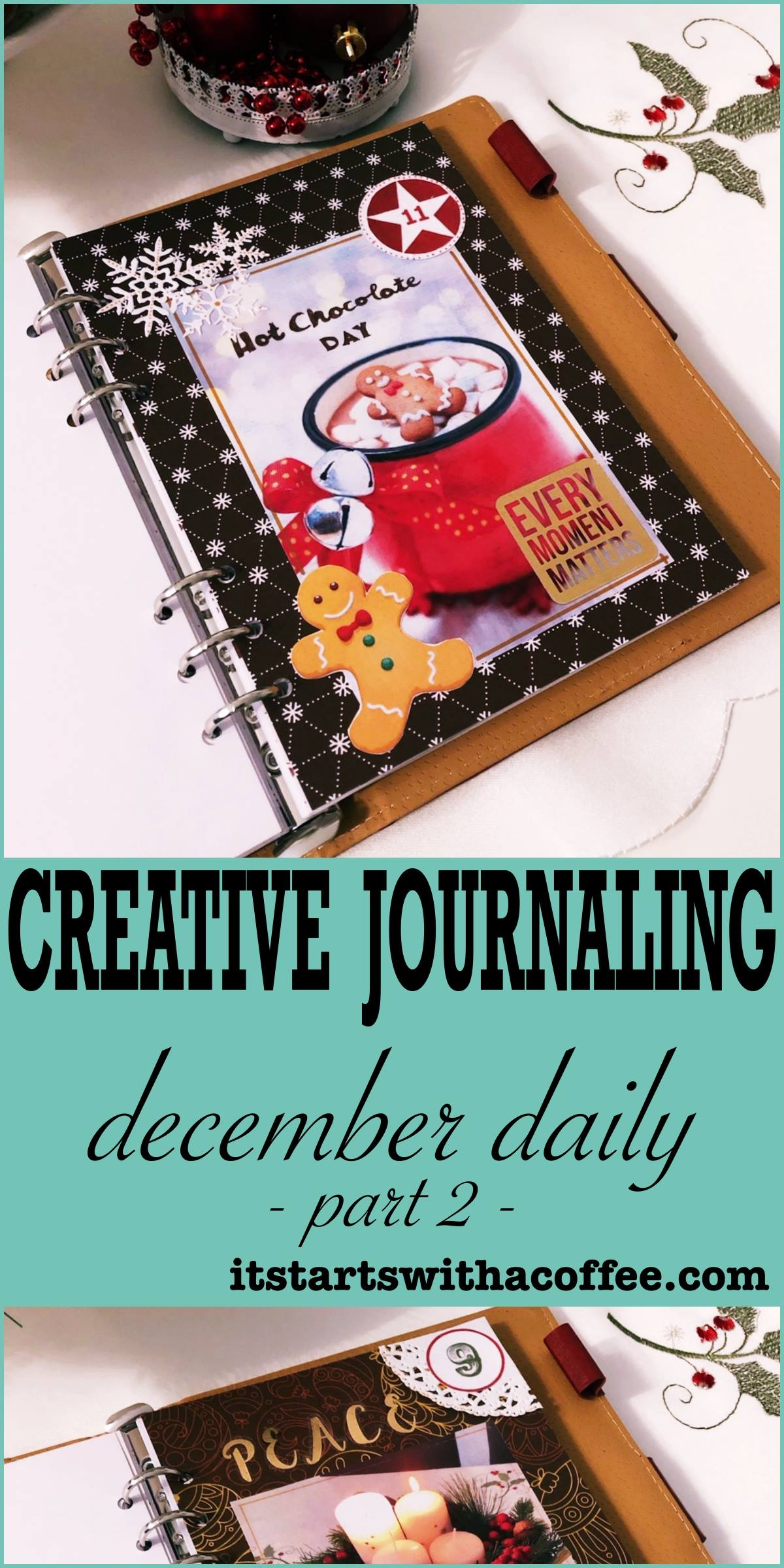 Creative journaling - December daily memories part 2 - itstartswithacoffee.com #creativejournaling #journaling #daily #december #planner #memories