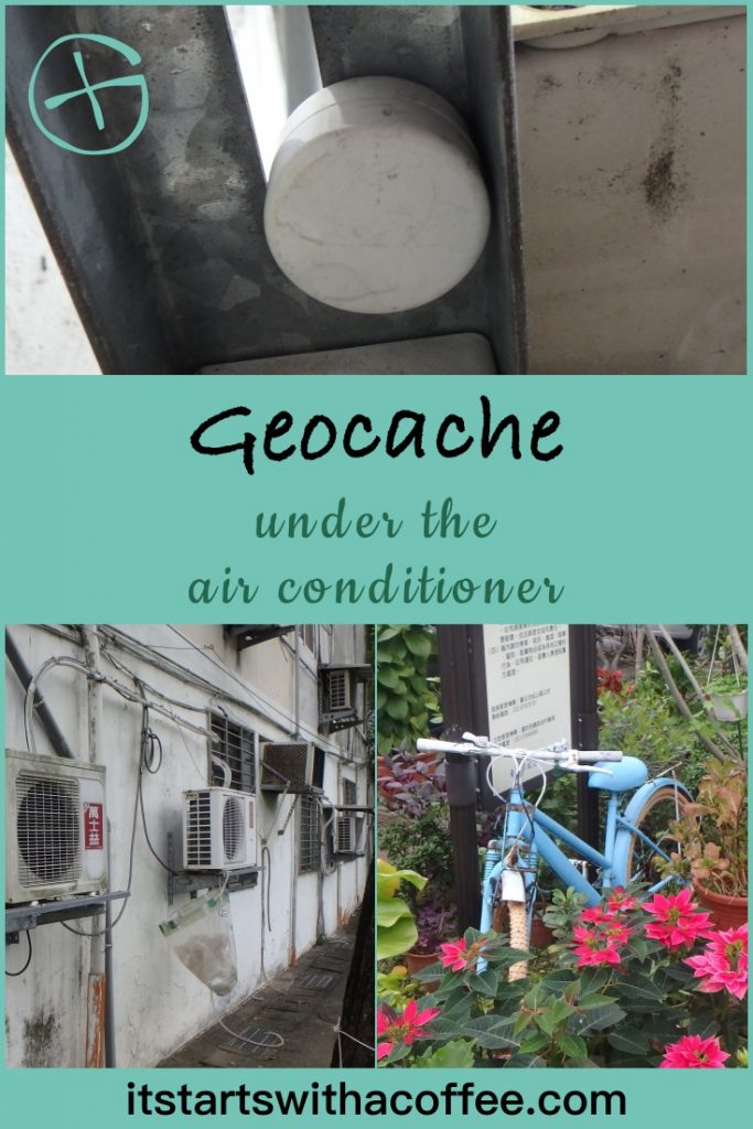 Geocache under the air conditioner - itstartswithacoffee.com #geocache #geocaching #geocachingTW #geocachingTaiwan #airconditioner